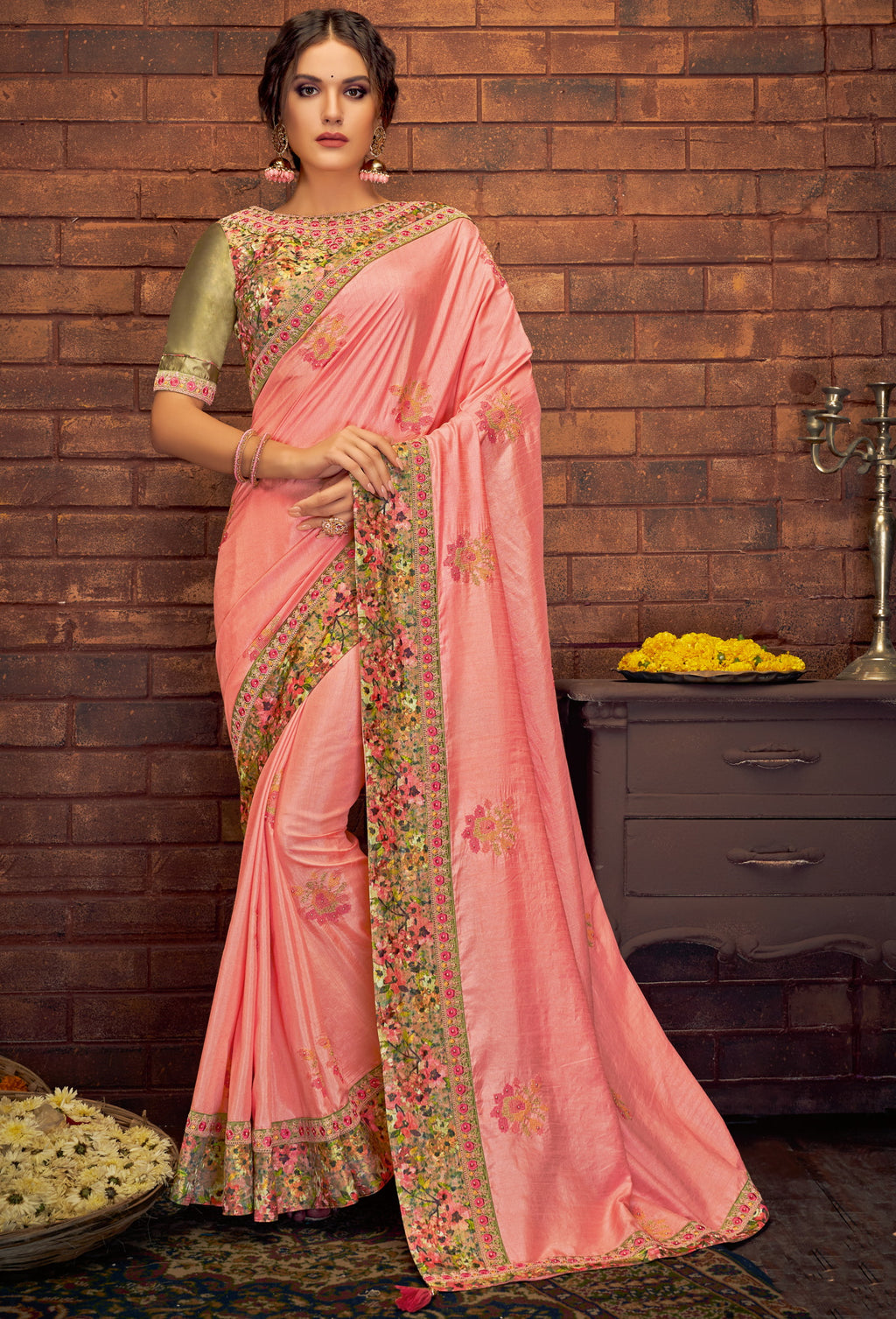 Pink Color Satin Silk Splendid Festive Sarees NYF-5218