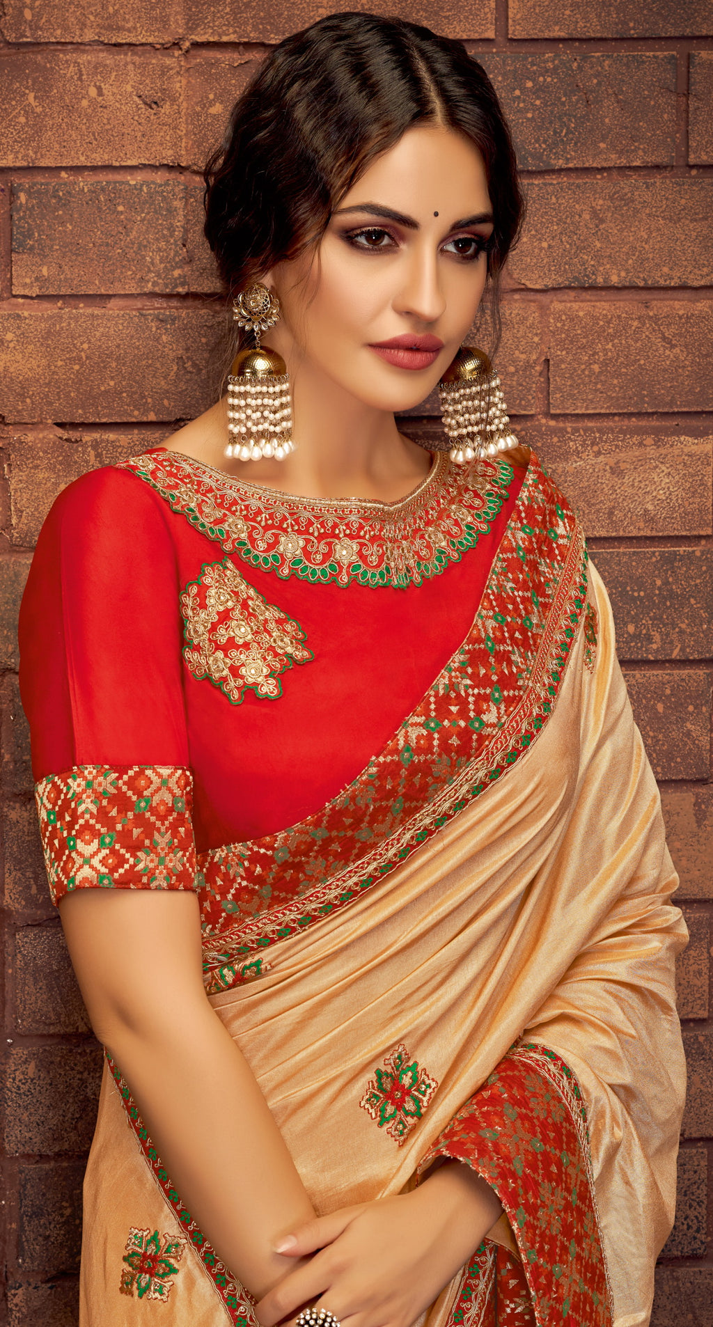 Peach Color Satin Silk Splendid Festive Sarees NYF-5219