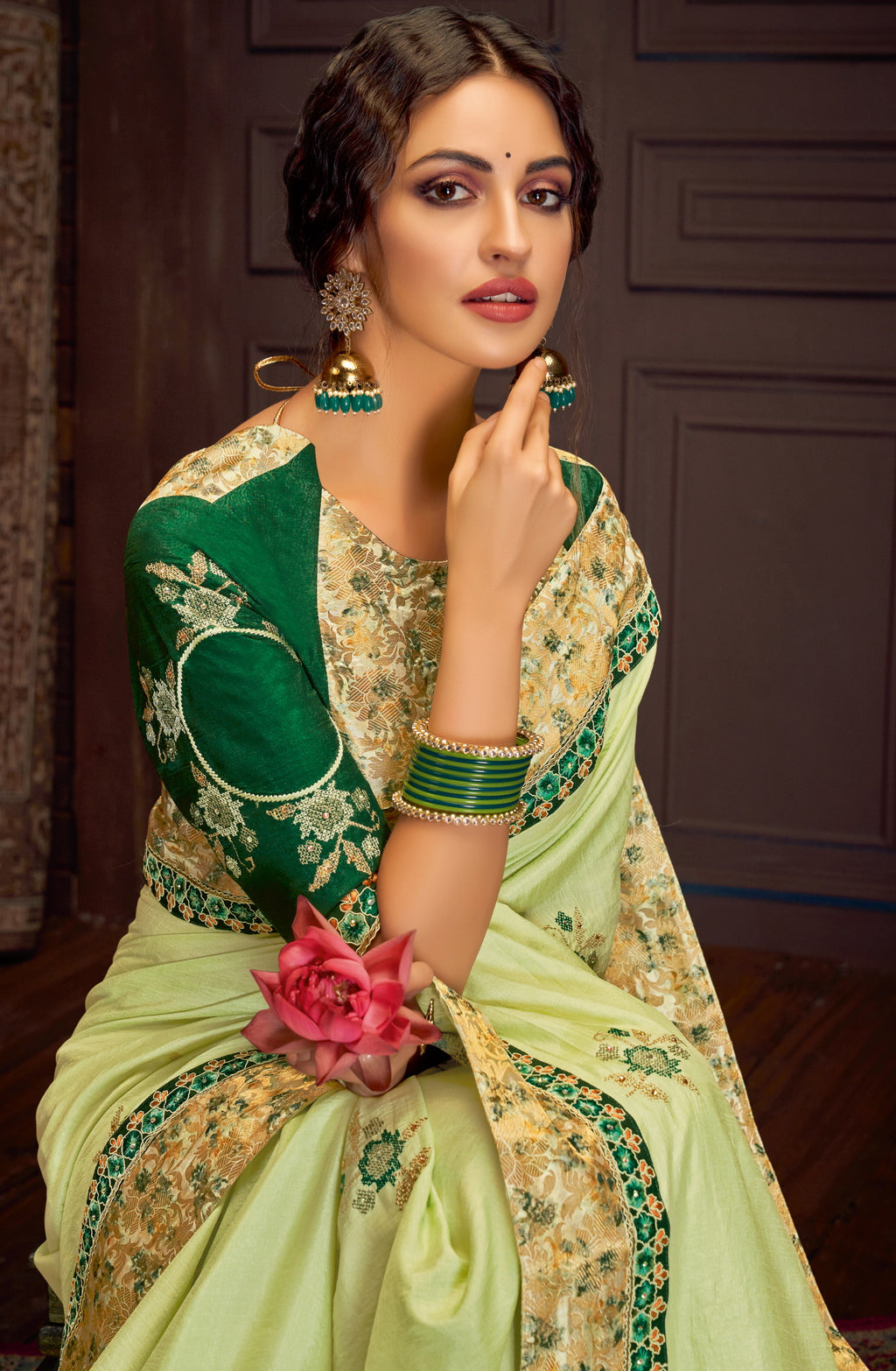 Pastel Green Color Silk Georgette