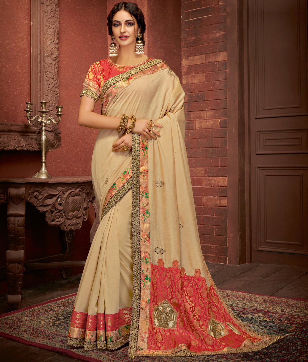 Cream Color Half Silk Georgette & Half Brocade Splendid Festive Sarees NYF-5223