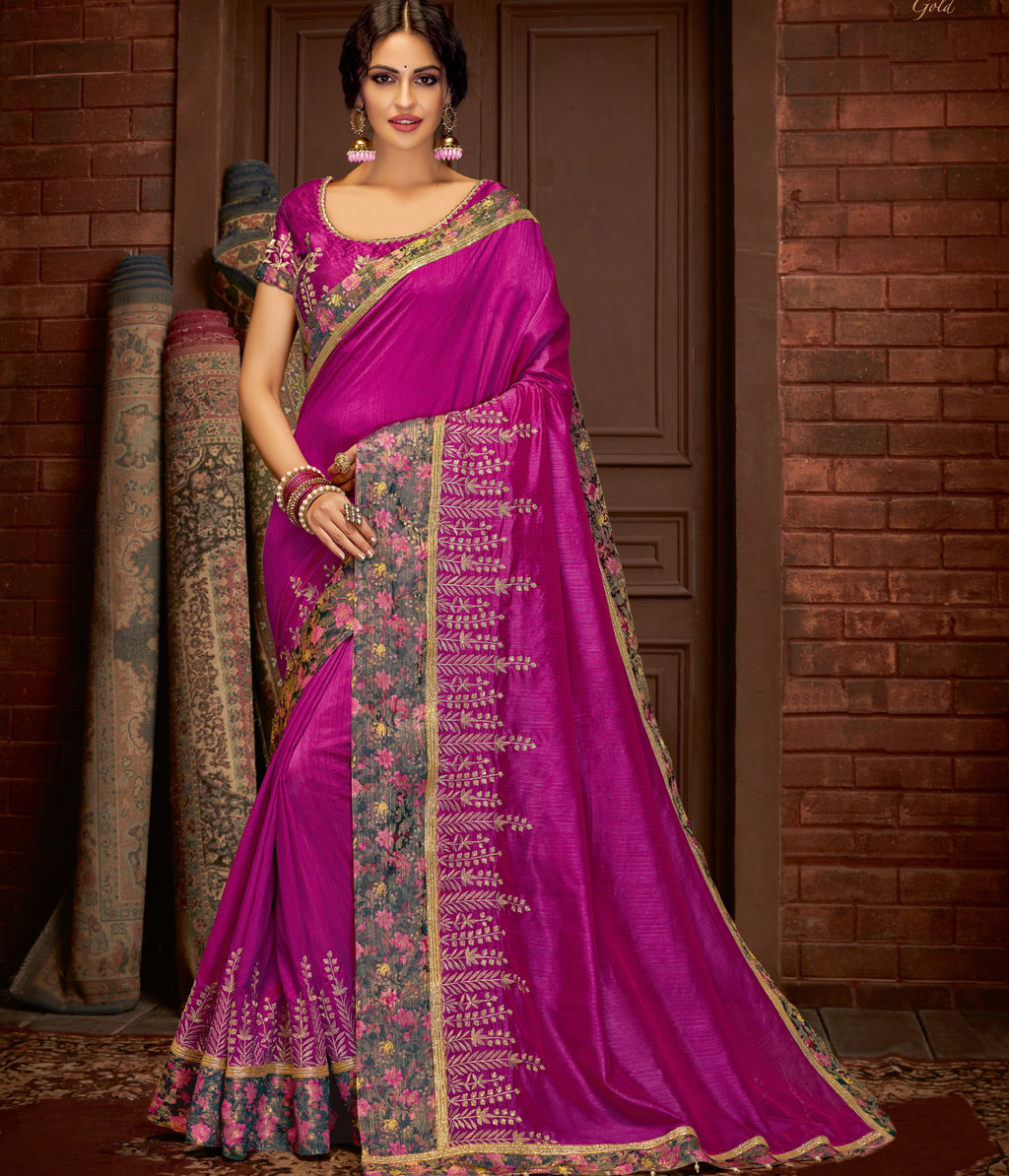 Purple Color Silk Splendid Festive Sarees NYF-5224