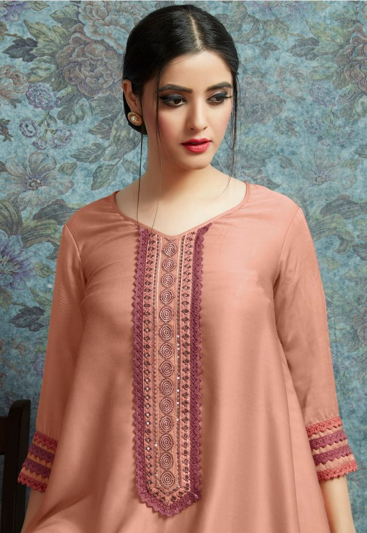 Peach Color Modal Satin Stitched Kurtis With Bottom Material NYF-4995