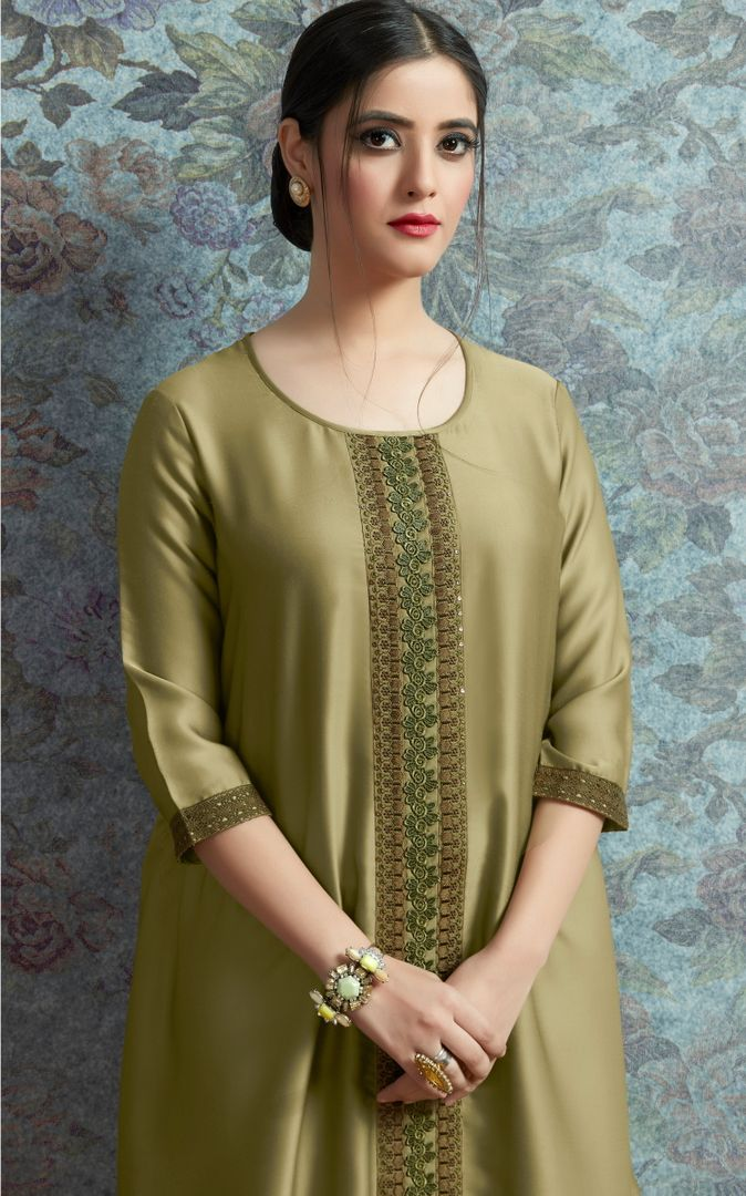 Olive Green Color Modal Satin Stitched Kurtis With Bottom Material NYF-4999