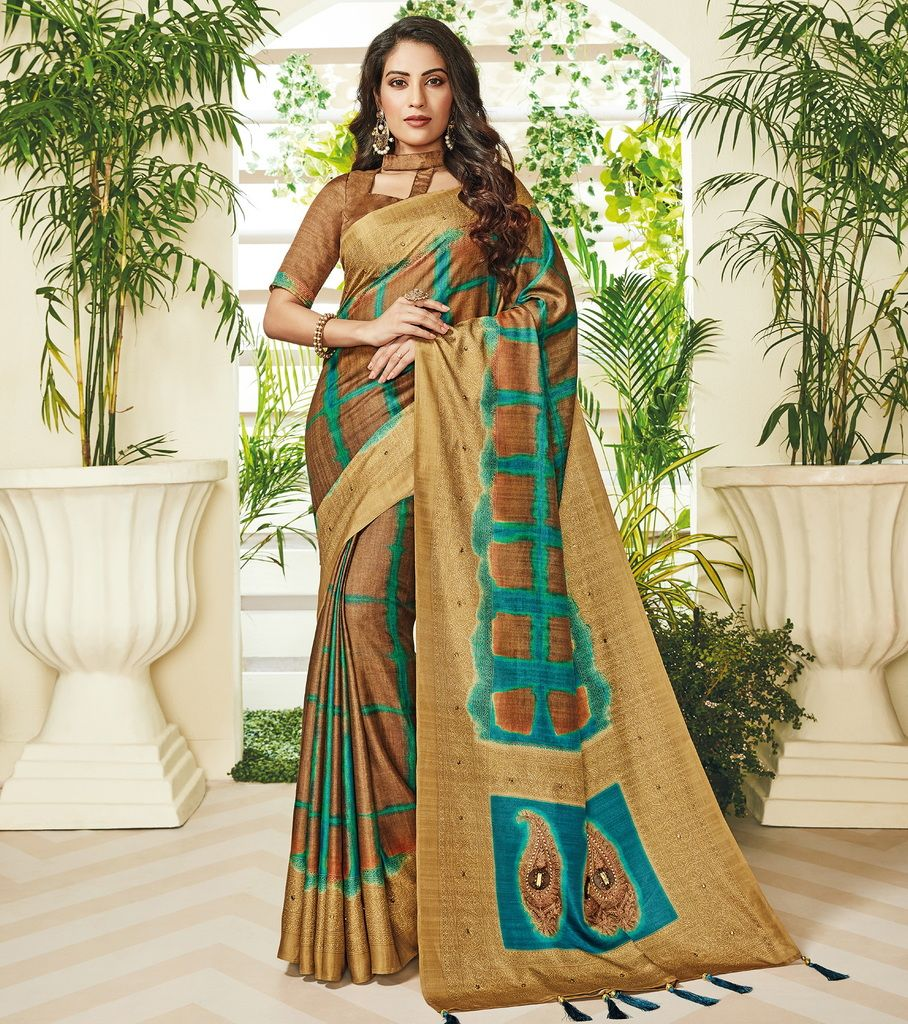 Brown Color Cotton Silk Designer Festive Sarees : Preshan Collection  NYF-2124 - YellowFashion.in