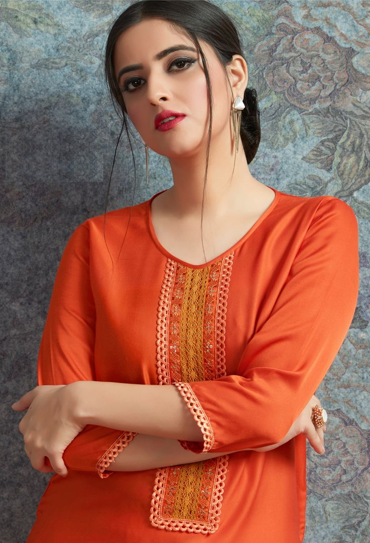 Orange Color Modal Satin Stitched Kurtis With Bottom Material NYF-5003