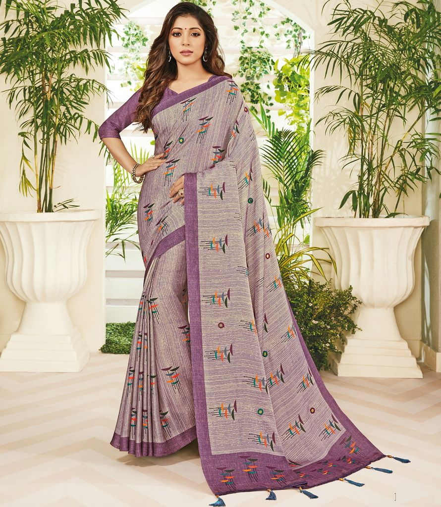 Lavender Color Cotton Silk Designer Festive Sarees : Preshan Collection  NYF-2130 - YellowFashion.in