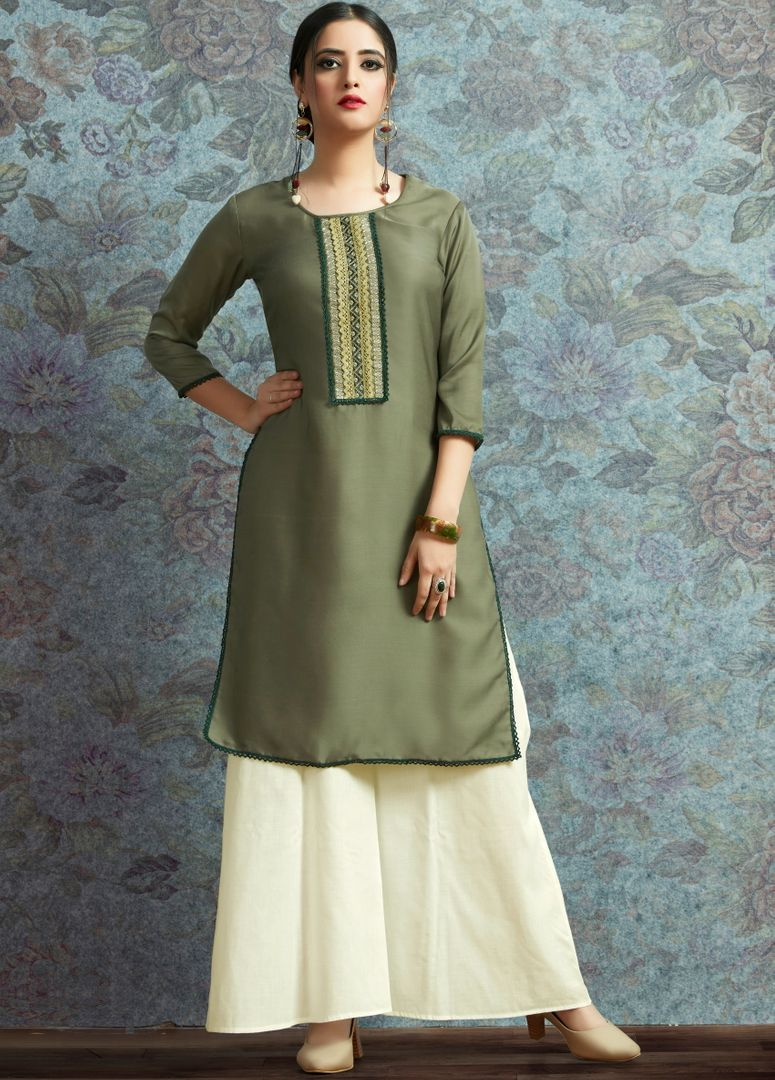 Olive Green Color Modal Satin Stitched Kurtis With Bottom Material NYF-5007