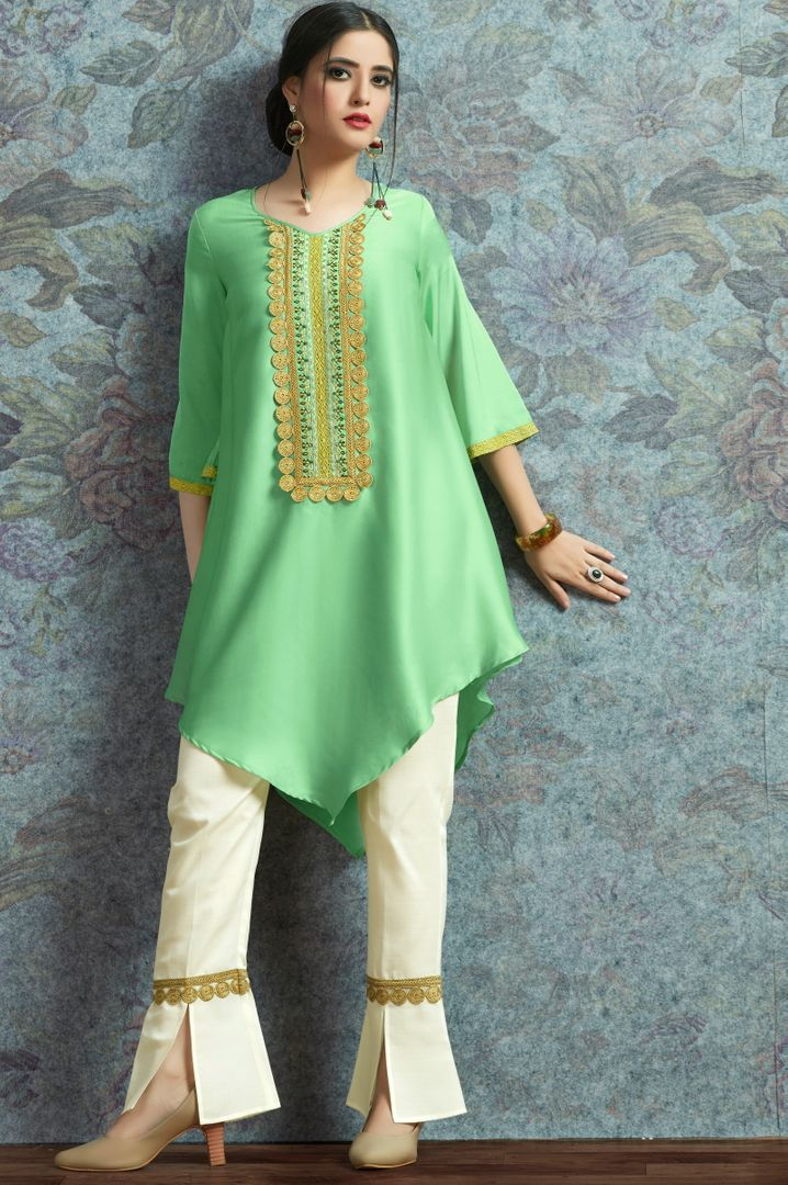Pastel Green Color Modal Satin Stitched Kurtis With Bottom Material NYF-5011