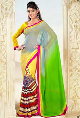 Yellow and Green Color Georgette Printed Sarees : Ruby Collection  YF-22985