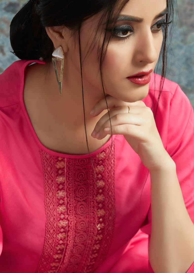 Pink Color Modal Satin Stitched Kurtis With Bottom Material NYF-5015
