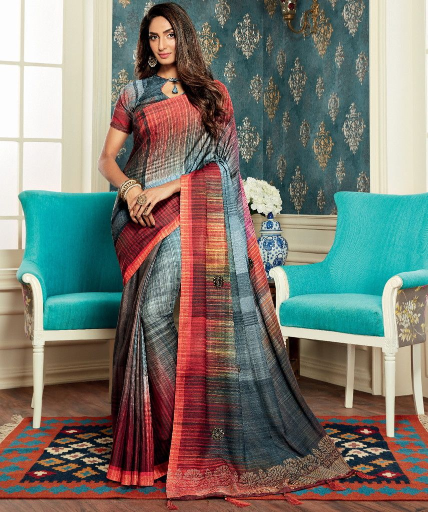 Grey Color Bhagalpuri Party & Function Wear Sarees : Abhijata Collection  NYF-2051 - YellowFashion.in