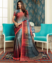 Grey Color Bhagalpuri Party & Function Wear Sarees : Abhijata Collection  NYF-2051