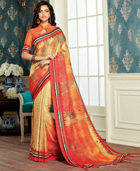 Light Yellow, Pink & Orange Color Bhagalpuri Party & Function Wear Sarees : Abhijata Collection  NYF-2054