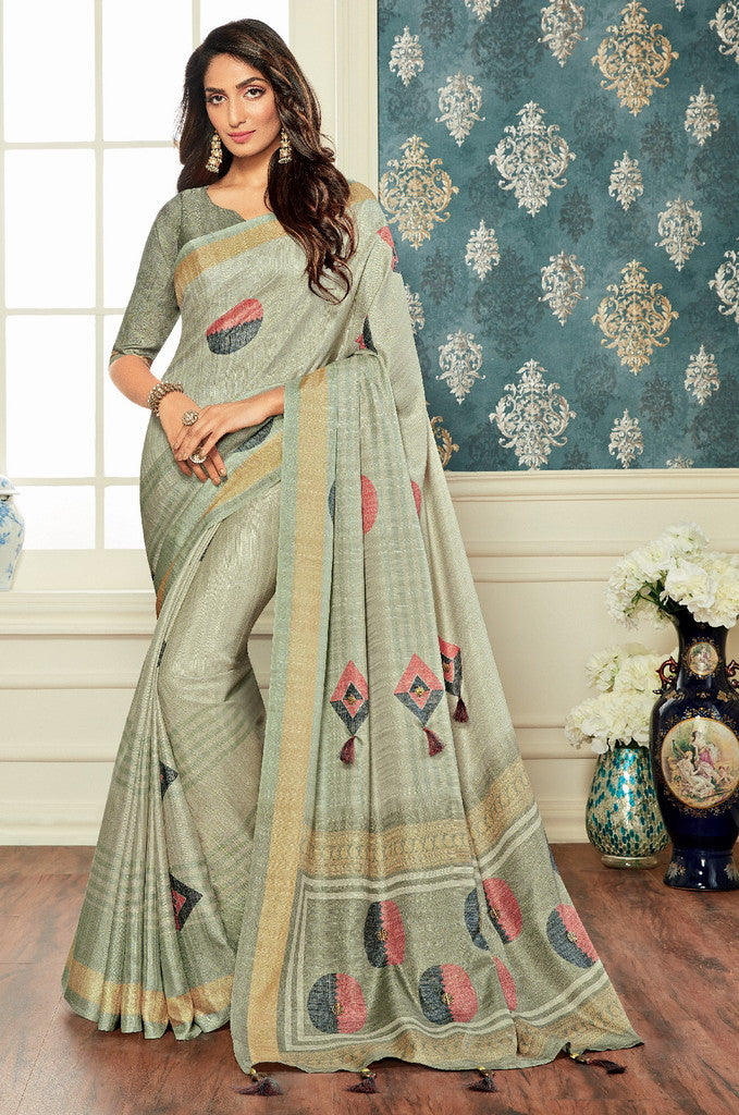 Grey Color Bhagalpuri Party & Function Wear Sarees : Abhijata Collection  NYF-2055 - YellowFashion.in