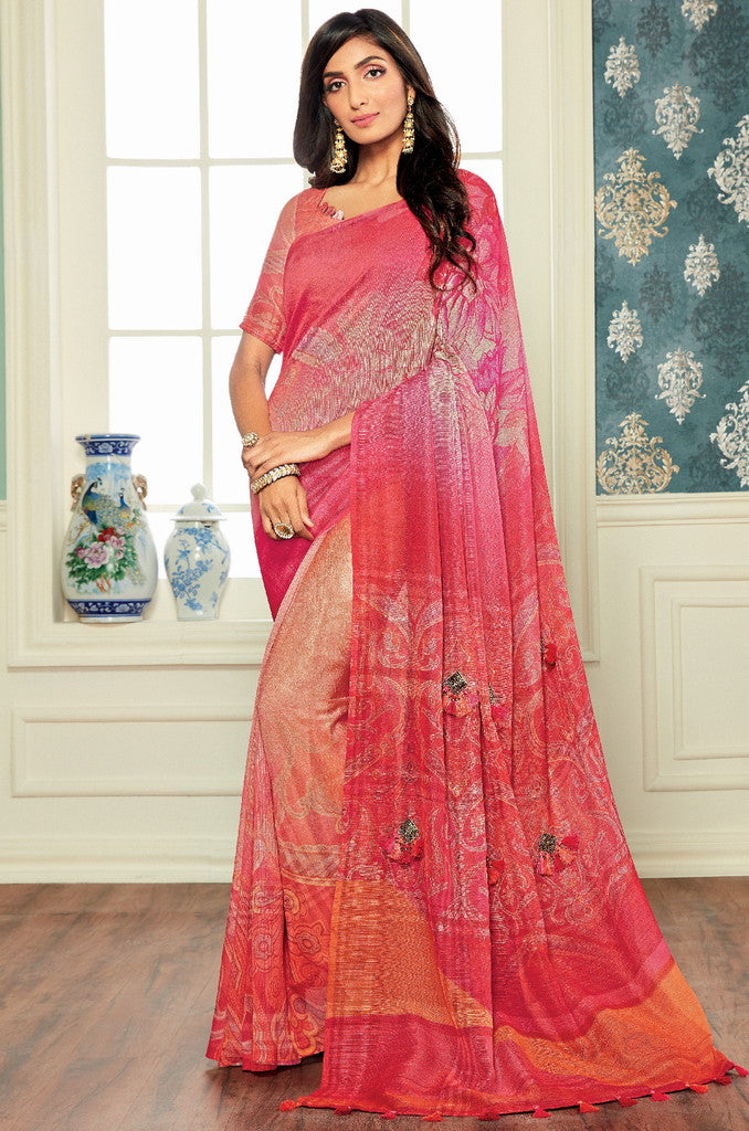 Pink Color Bhagalpuri Digital Print Party & Function Wear Sarees : Abhijata Collection  NYF-2057 - YellowFashion.in