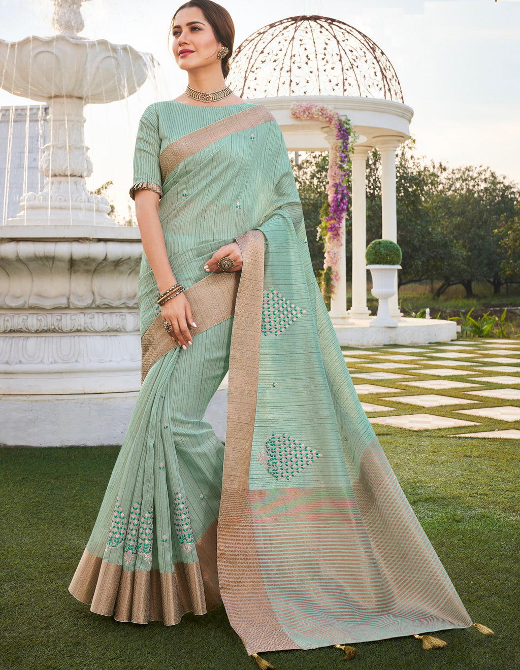 Light Aqua Green Color Banarasi Cotton Silk  Sarees For Newly Wedded NYF-5709