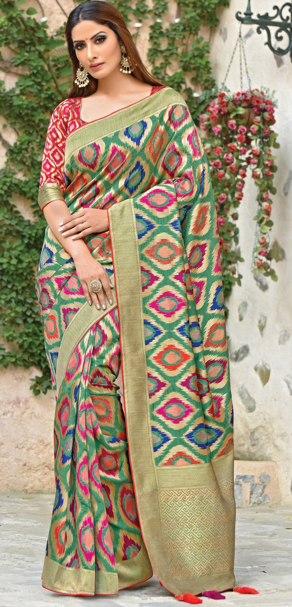 Multi Color Weaved Silk Radiant Designer Sarees With Semi Stitch Blouse NYF-5063