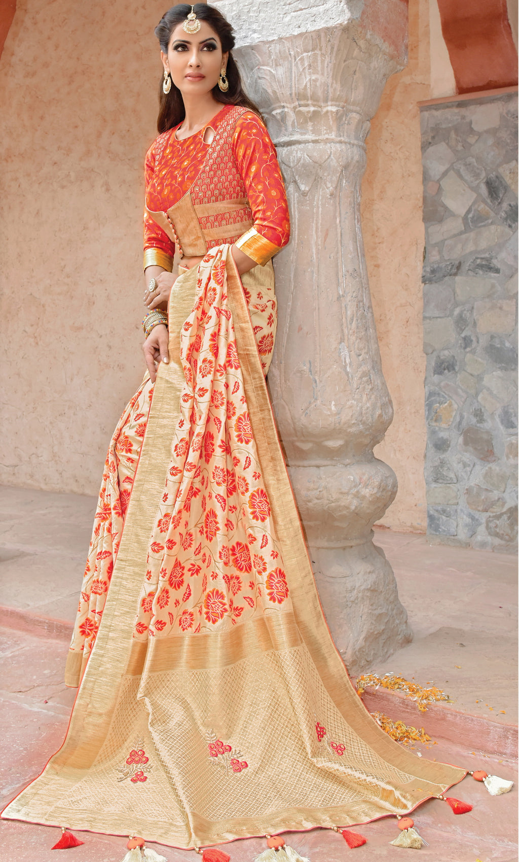 Cream Color Weaved Silk Radiant Designer Sarees With Semi Stitch Blouse NYF-5064
