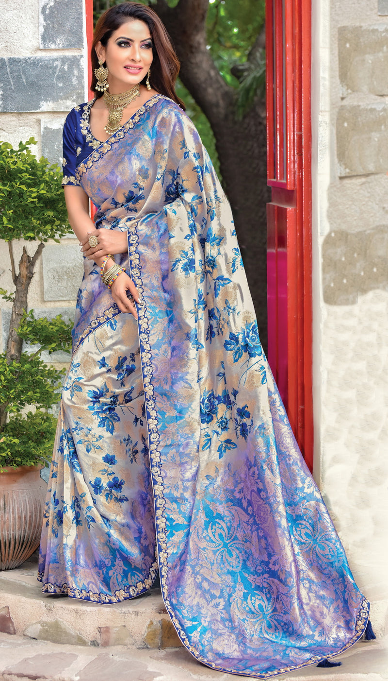 Off White & Blue Color Jacquard Silk Radiant Designer Sarees NYF-5065