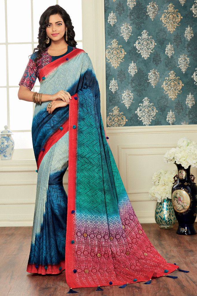 Shades Of Blue Color Bhagalpuri Digital Print Party & Function Wear Sarees : Abhijata Collection  NYF-2062 - YellowFashion.in