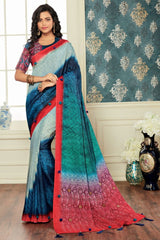 Shades Of Blue Color Bhagalpuri Digital Print Party & Function Wear Sarees : Abhijata Collection  NYF-2062
