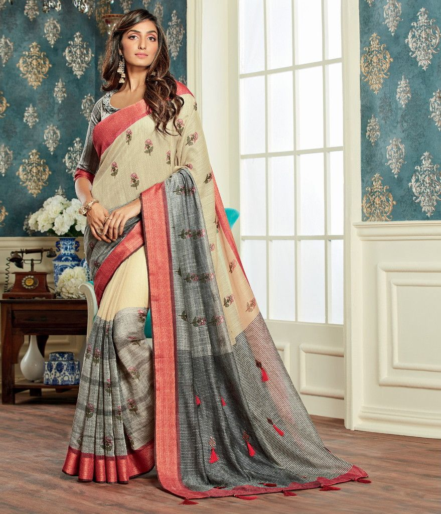Cream & Grey Color Bhagalpuri Party & Function Wear Sarees : Abhijata Collection  NYF-2063 - YellowFashion.in