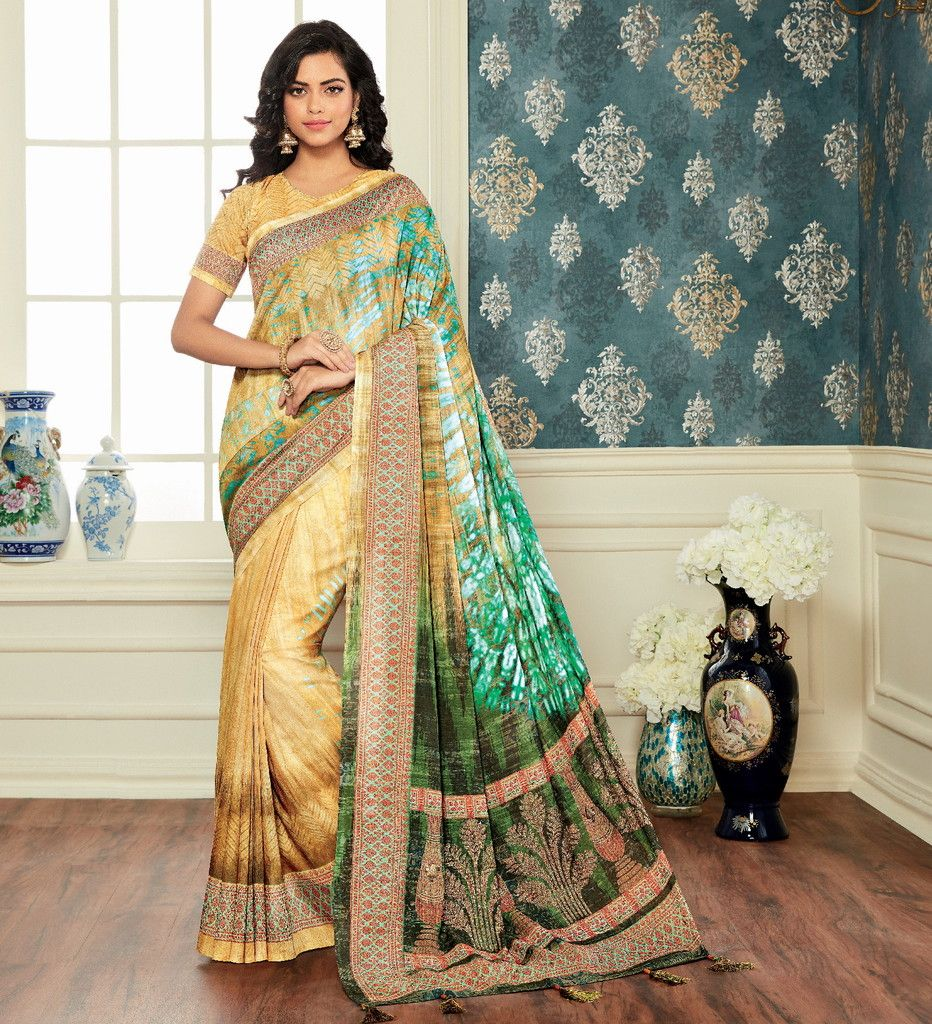 Light Yellow & Green Color Bhagalpuri Digital Print Party & Function Wear Sarees : Abhijata Collection  NYF-2064 - YellowFashion.in