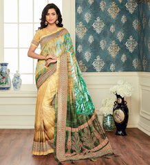 Light Yellow & Green Color Bhagalpuri Digital Print Party & Function Wear Sarees : Abhijata Collection  NYF-2064