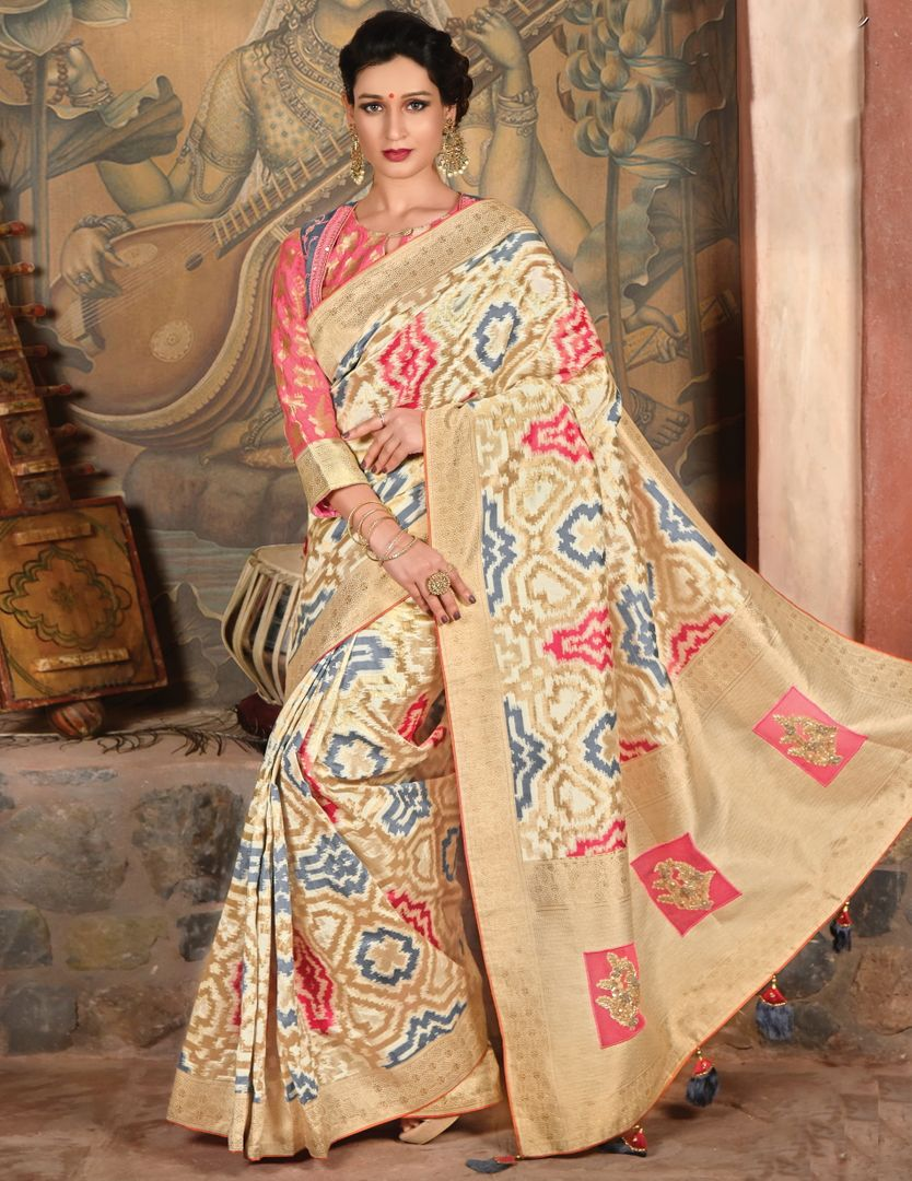 Cream Color Weaved Silk Radiant Designer Sarees NYF-5068
