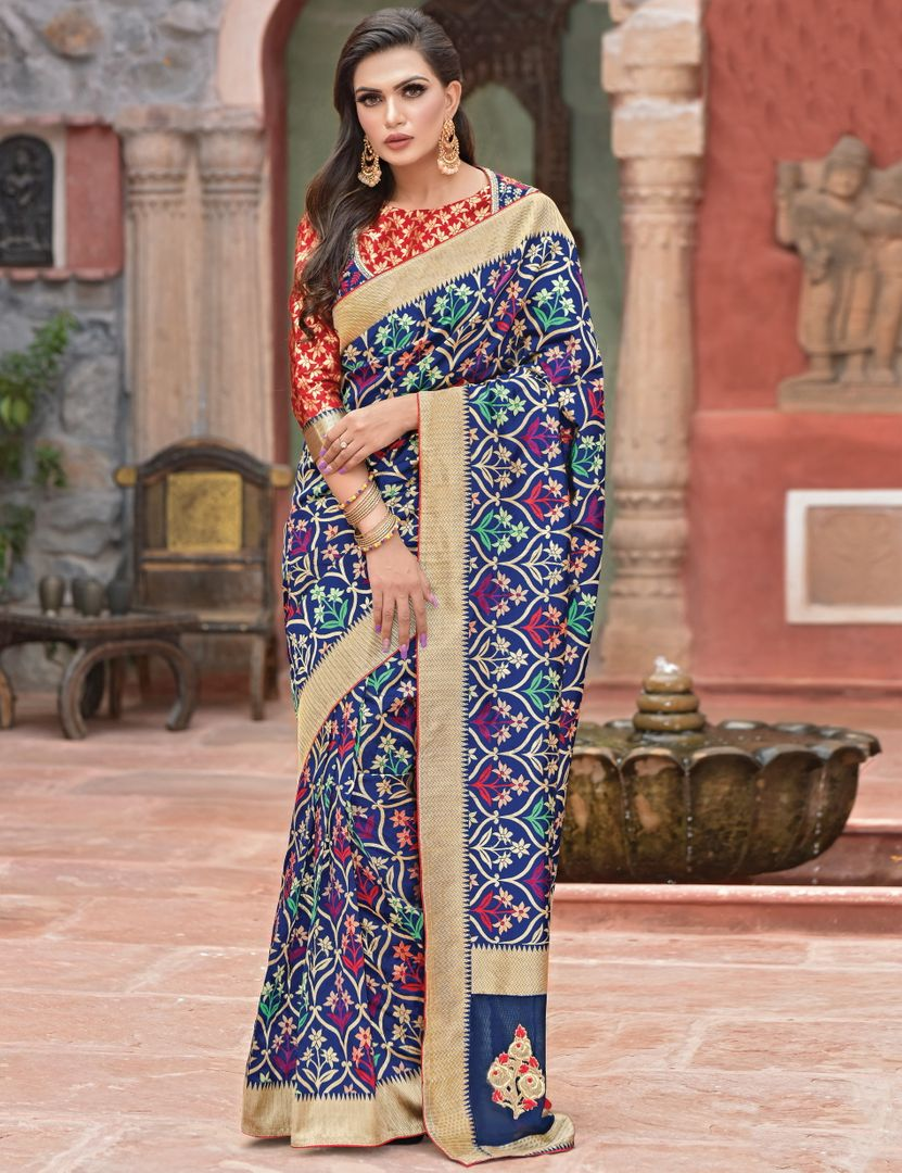 Blue Color Weaved Silk Radiant Designer Sarees NYF-5069