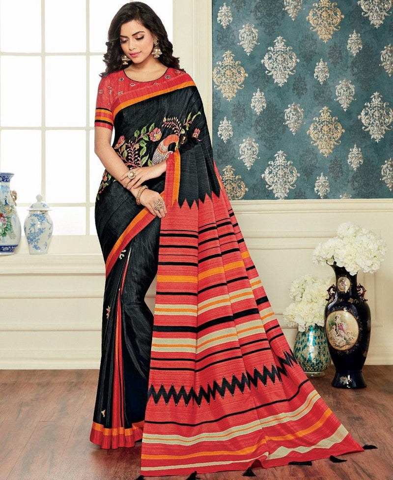 Black Color Bhagalpuri Party & Function Wear Sarees : Abhijata Collection  NYF-2065 - YellowFashion.in
