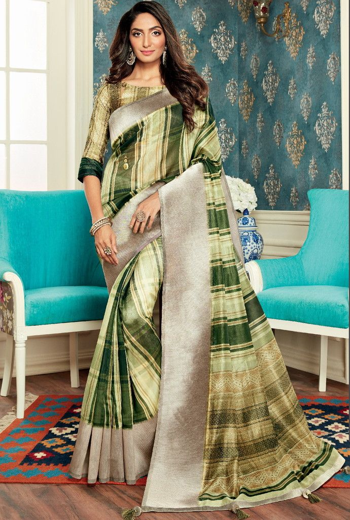 Shades Of Green Color Bhagalpuri Party & Function Wear Sarees : Abhijata Collection  NYF-2066 - YellowFashion.in