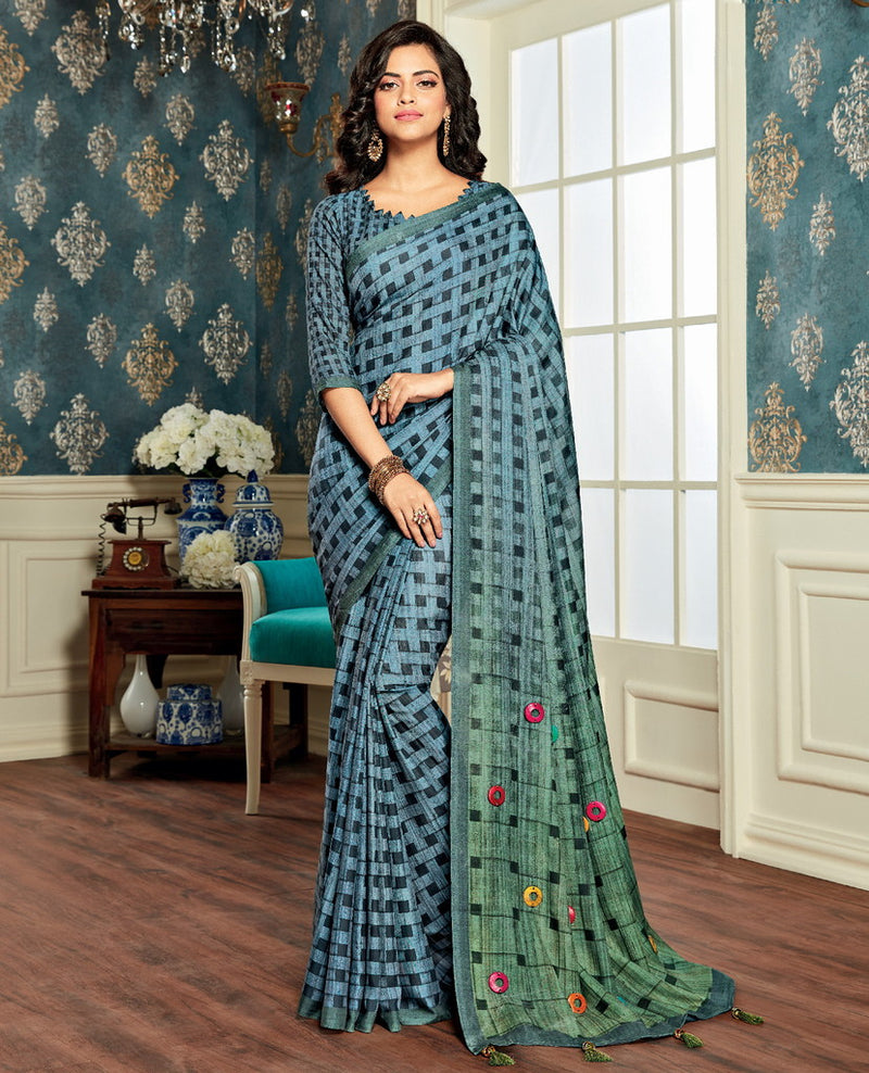 Blue & Green Color Bhagalpuri Party & Function Wear Sarees : Abhijata Collection  NYF-2067 - YellowFashion.in