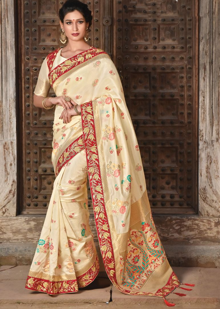 Cream Color Weaved silk Radiant Designer Sarees NYF-5072