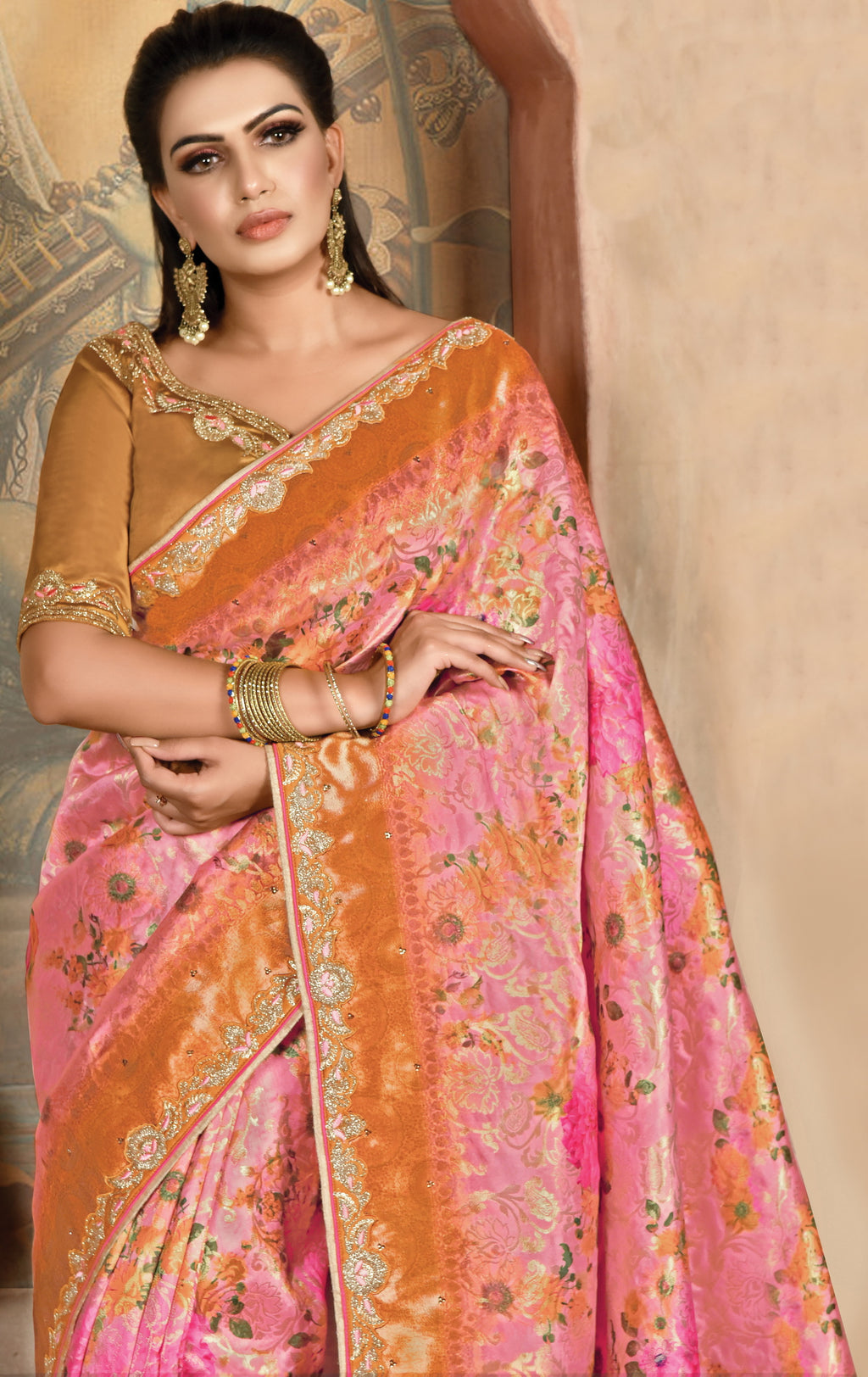 Pink Color Weaved Silk Radiant Designer Sarees NYF-5073