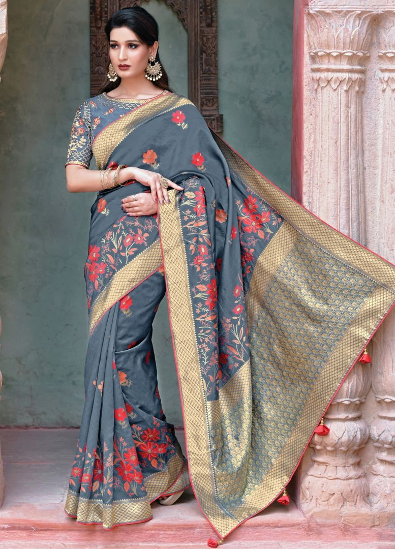 Grey Color Weaved Silk Radiant Designer Sarees NYF-5074