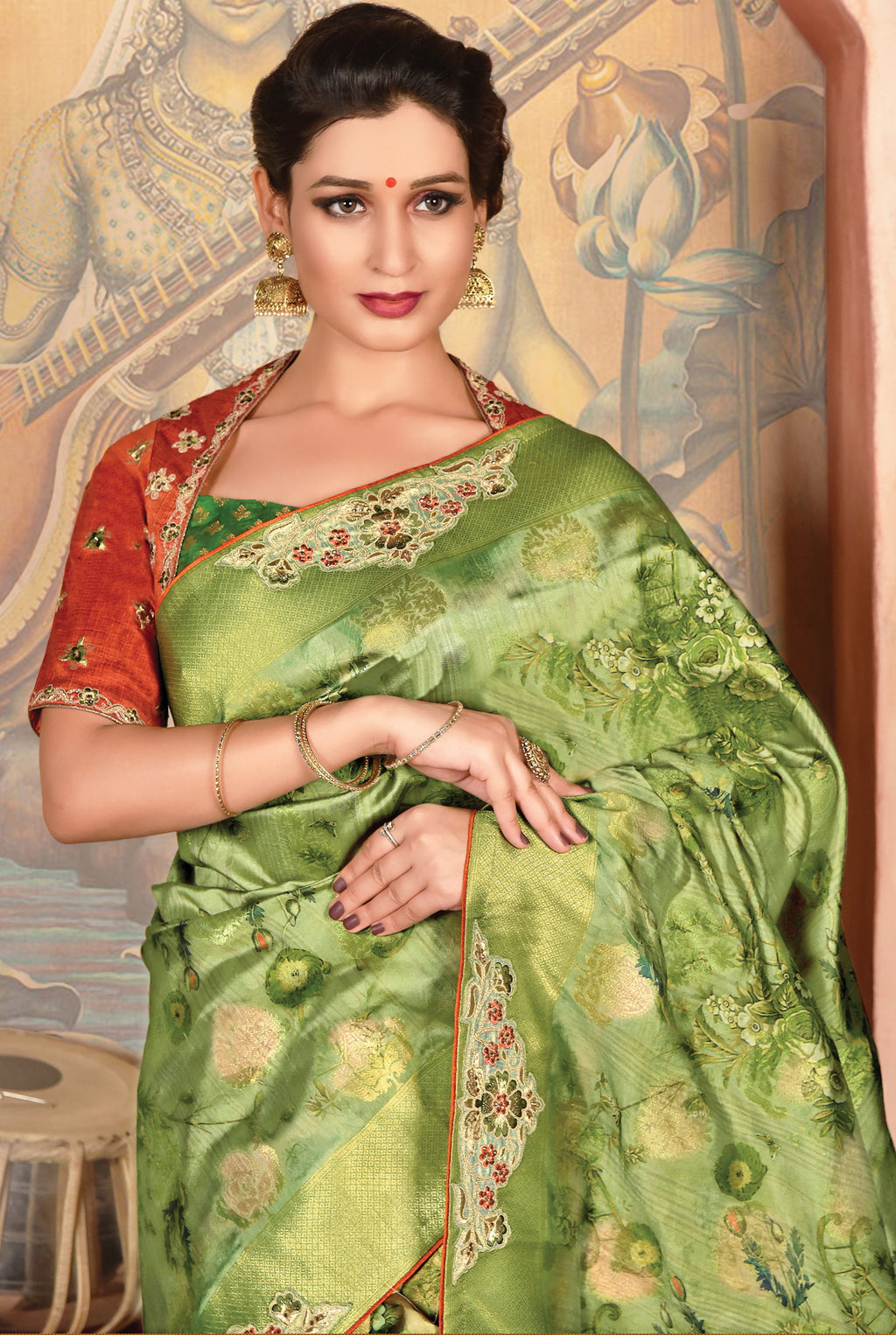 Green Color Weaved Silk Radiant Designer Sarees NYF-5075