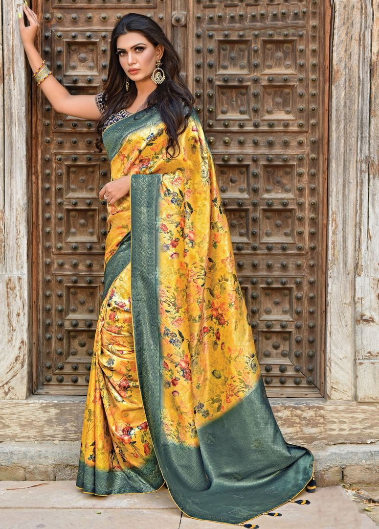 Yellow Color Weaved Silk Radiant Designer Sarees NYF-5076