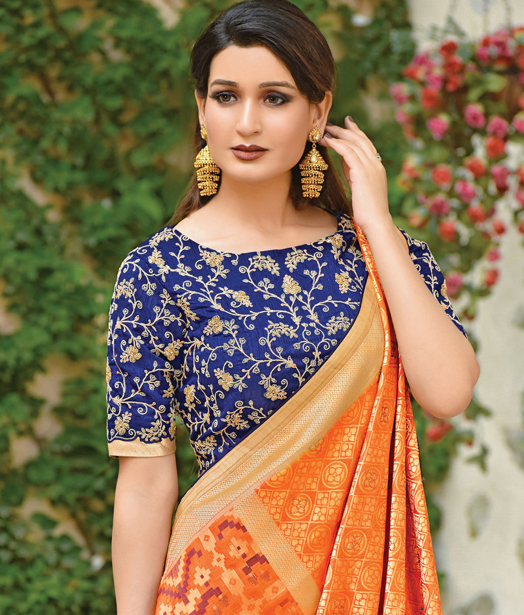 Orange Color Weaved Silk Radiant Designer Sarees NYF-5077