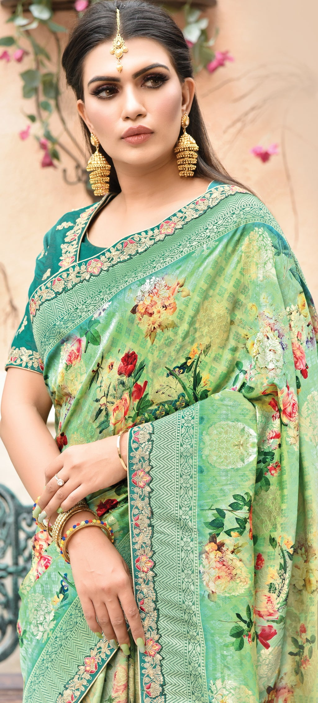 Green Color Weaved Silk Radiant Designer Sarees NYF-5078