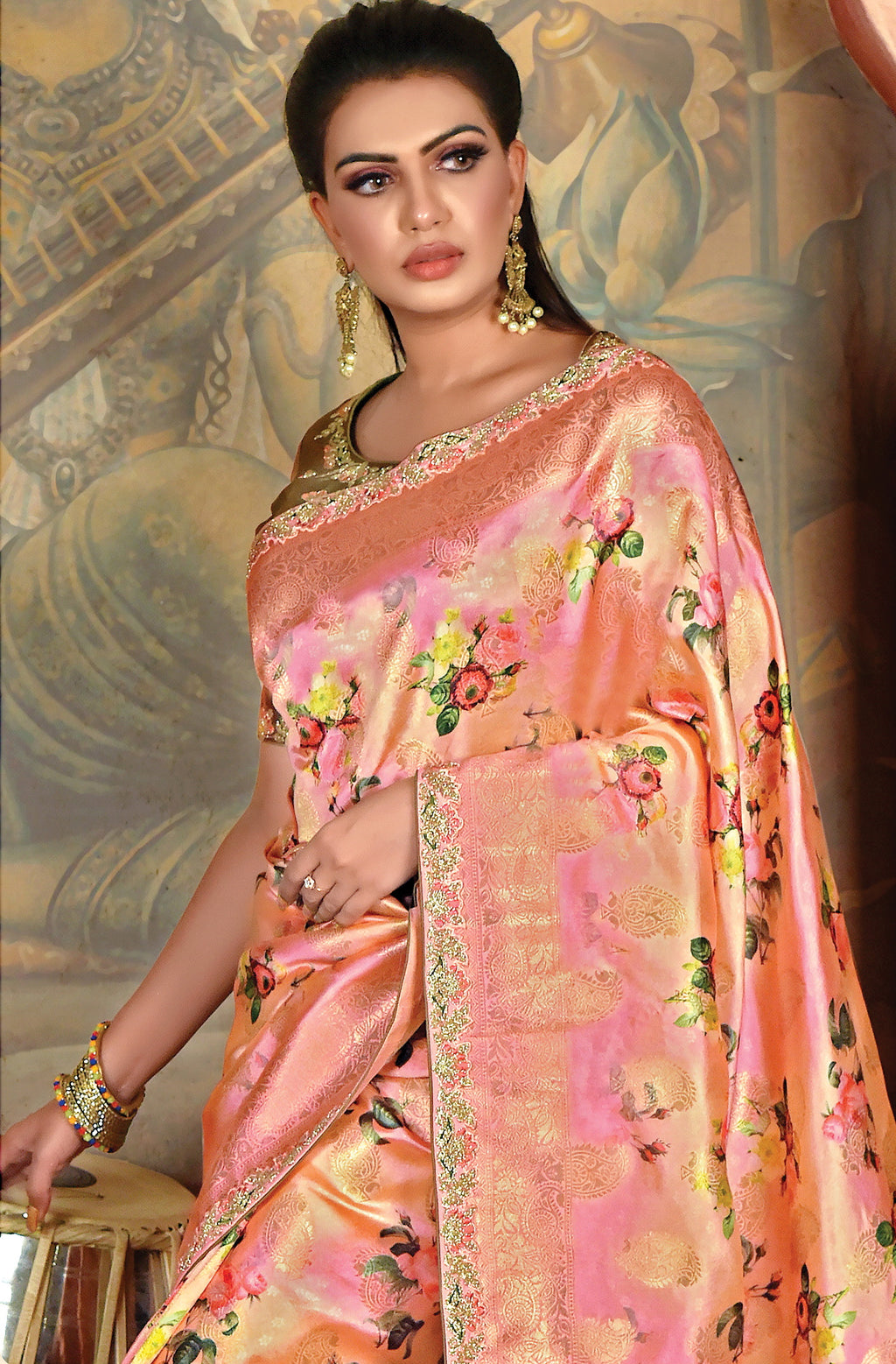 Orange & Pink Color Weaved Silk Radiant Designer Sarees NYF-5079