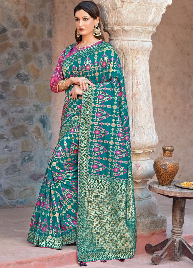 Rama Green Color Weaved Silk Radiant Designer Sarees NYF-5080