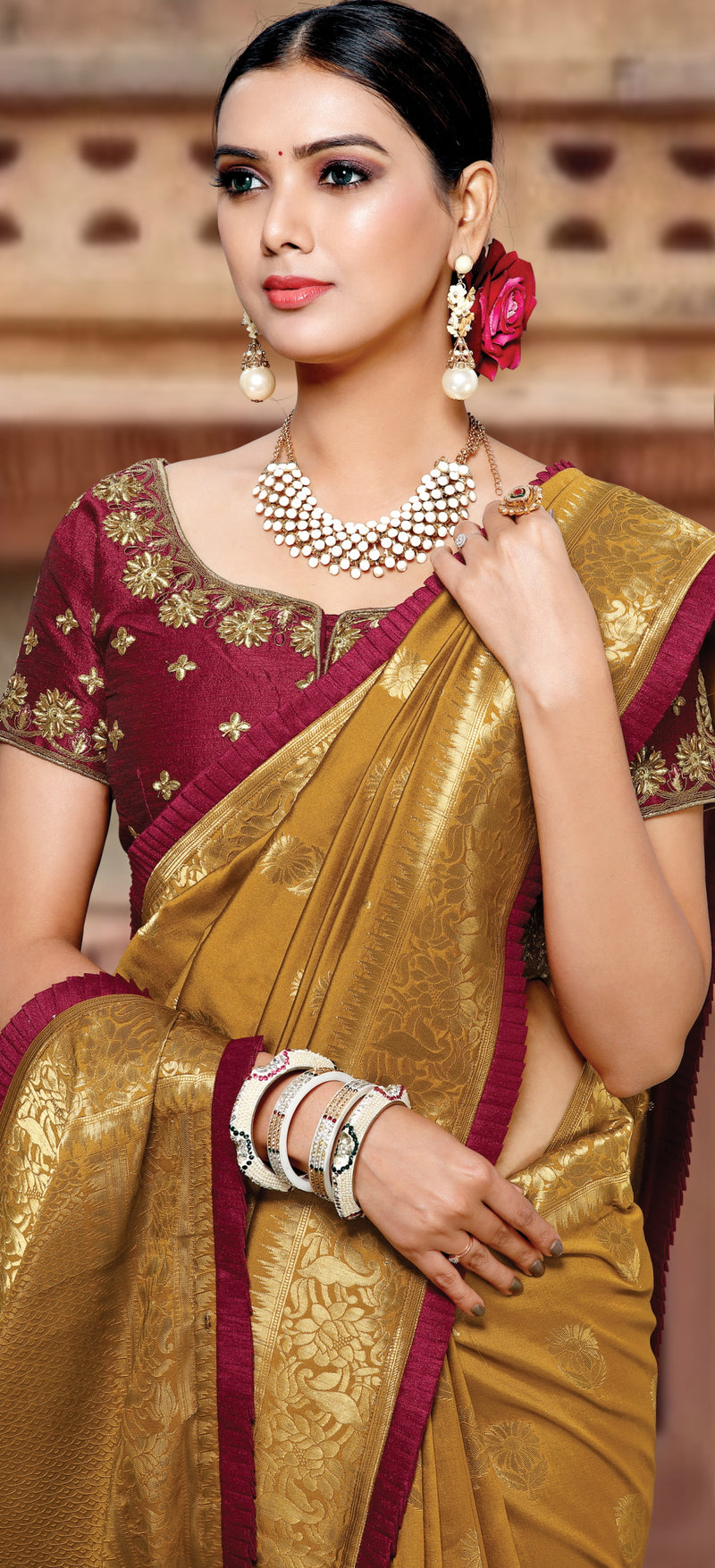 Light Coffee Color Weaved Silk Radiant Designer Sarees NYF-5081