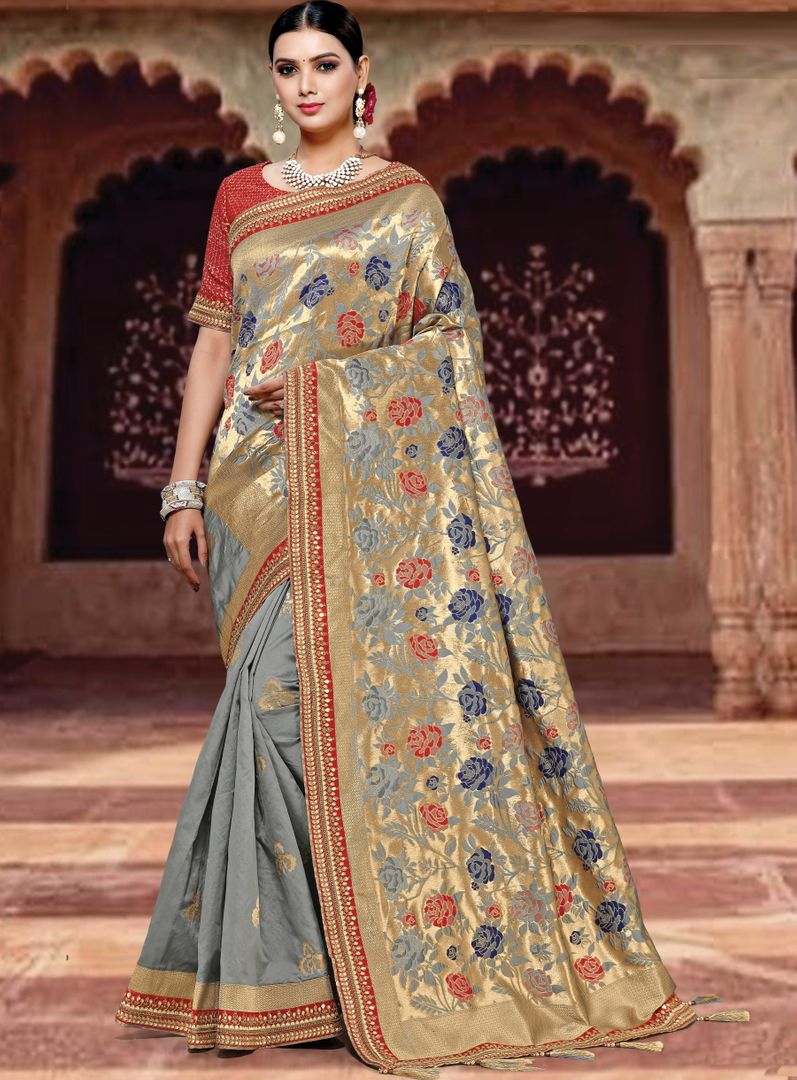 Grey Color Weaved Silk Radiant Designer Sarees NYF-5082