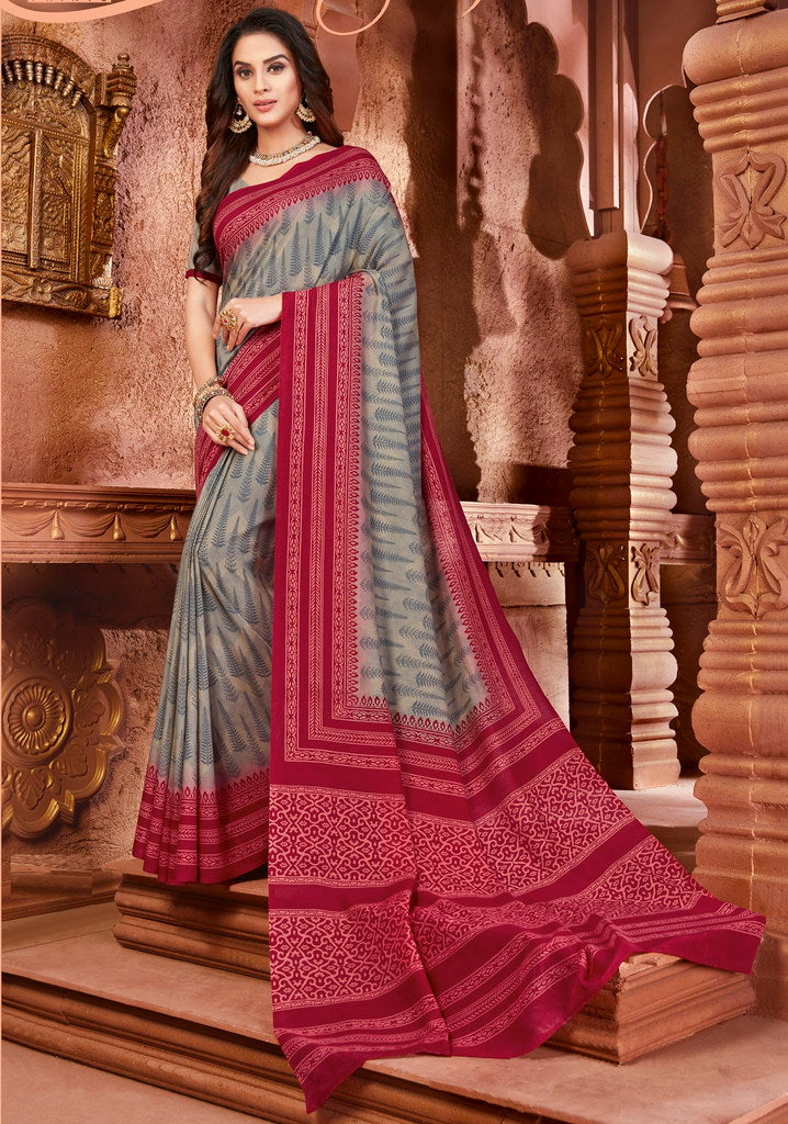 Grey Color Cotton Silk Casual Party Sarees : Ambala Collection  NYF-2169 - YellowFashion.in
