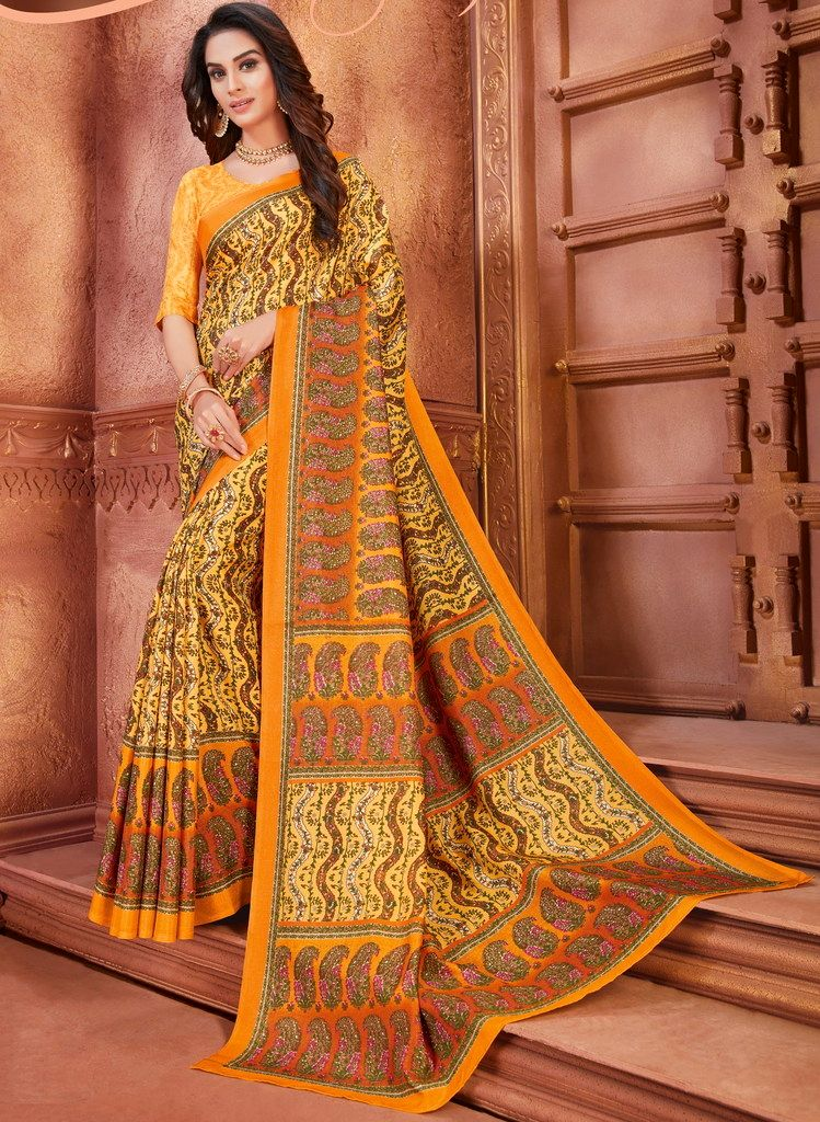 Yellow Color Cotton Silk Casual Party Sarees : Ambala Collection  NYF-2172 - YellowFashion.in