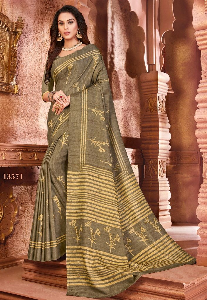 Beige Color Cotton Silk Casual Party Sarees : Ambala Collection  NYF-2174 - YellowFashion.in
