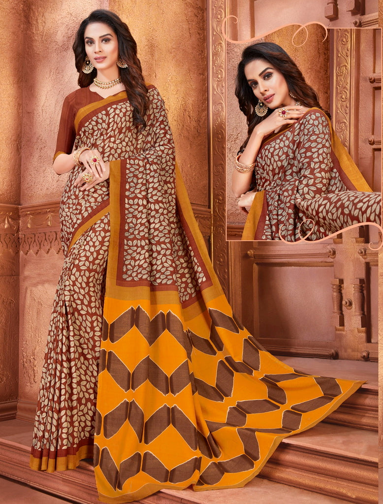 Yellow & Brown Color Cotton Silk Casual Party Sarees : Ambala Collection  NYF-2177 - YellowFashion.in