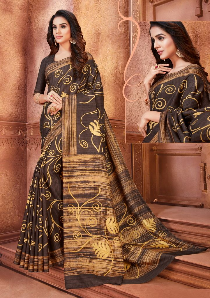 Brown Color Cotton Silk Casual Party Sarees : Ambala Collection  NYF-2178 - YellowFashion.in