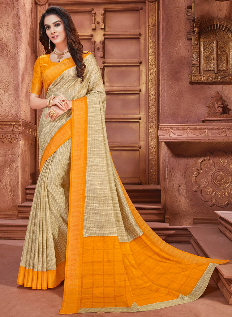 Cream & Yellow Color Cotton Silk Casual Party Sarees : Ambala Collection  NYF-2181 - YellowFashion.in